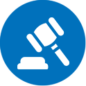 icon blue circle containing white silhouette of judge gavel